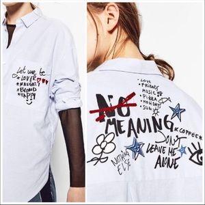 Zara trafaluc Collection SZ XS Shirt Graffiti Top
